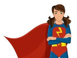 Fille en costume de super-héros vecteur