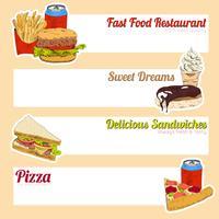 Bannière de menu de restauration rapide vecteur
