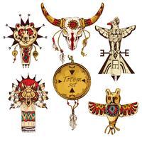 Ensemble coloré de totems américains ethniques