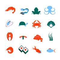 Jeu d'icônes de fruits de mer