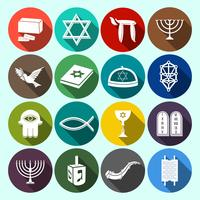 Judaïsme Icons Set Flat vecteur