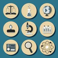 Icônes plats de chimie vecteur