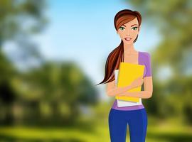 Portrait d'étudiante vecteur