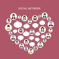 Coeur de réseau social vecteur
