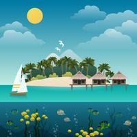 Fond d'île tropicale vecteur