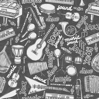 Modèle sans couture croquis d'instruments de musique vecteur