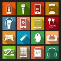 icônes de gadget à plat vecteur
