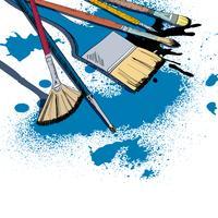 Emblème de dessin de pinceaux d'artiste