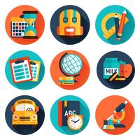 jeu d'icônes plat de l'éducation