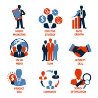 Jeu d'icônes de commerce et de gestion