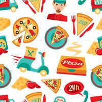 Modèle sans couture de pizza vecteur