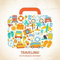 Concept de valise de voyage vecteur