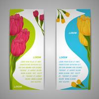 Bannières de fleurs de tulipes vecteur