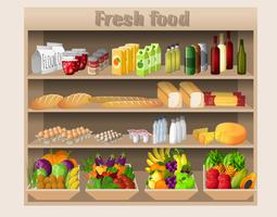 Supermarché étagères nourriture et boissons