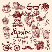 Ensemble d'icônes hipster vecteur