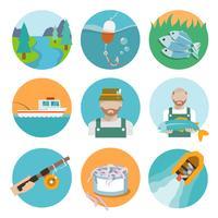 Ensemble d'icônes plats de pêche