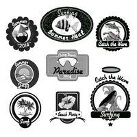Emblèmes de surf noir