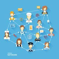 Concept global de réseau professionnel vecteur