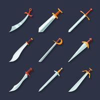 Icône d'épée plate vecteur