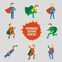 Ensemble d'autocollants de super-héros vecteur