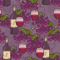 Modèle sans couture de croquis de vin
