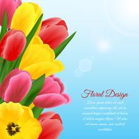 Arrière-plan de conception de tulipes vecteur