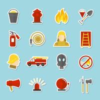 Autocollants d'icônes de lutte contre les incendies vecteur