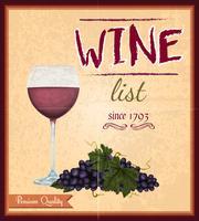 Affiche rétro carte des vins