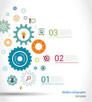 Modèle d'infographie engrenages vecteur