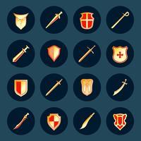 Ensemble d'icônes épée et bouclier vecteur