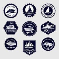 Voiliers voyage étiquettes jeu d'icônes vecteur