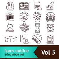 contour des icônes de l'éducation