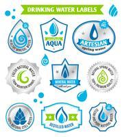Ensemble d'étiquette de gouttes d'eau vecteur