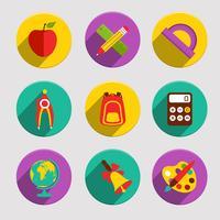 Set d'icônes d'école plat