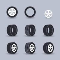 Jeu d'icônes de pneu vecteur