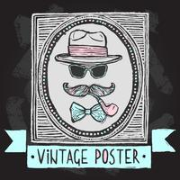 Affiche de chapeaux et de lunettes vintage vecteur