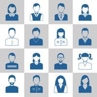 Ensemble d'icônes monochromes avatar