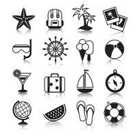 Ensemble d'icônes de vacances vecteur