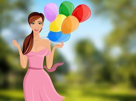 Portrait ballon femme vecteur