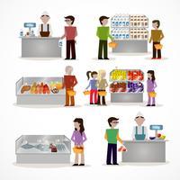 Personnes en supermarché vecteur
