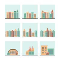 Jeu d'icônes de paysage urbain vecteur