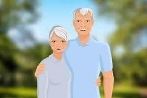 Couple de personnes âgées en plein air vecteur