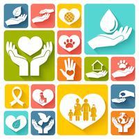 Icônes de charité et de don à plat vecteur