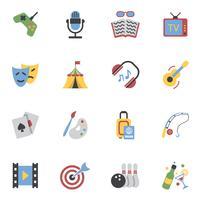 icônes de loisirs plats vecteur