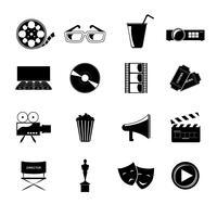 Jeu d'icônes de cinéma vecteur