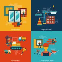 Composition d'icônes de construction à plat vecteur