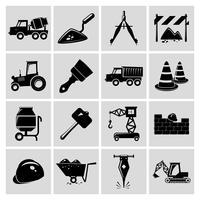 Icônes de construction mis en noir vecteur