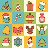 Icônes de Noël mis en ligne plate vecteur