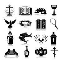 Icônes de christianisme mis en noir vecteur