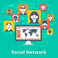 Affiche de composition d'icônes de réseaux sociaux vecteur